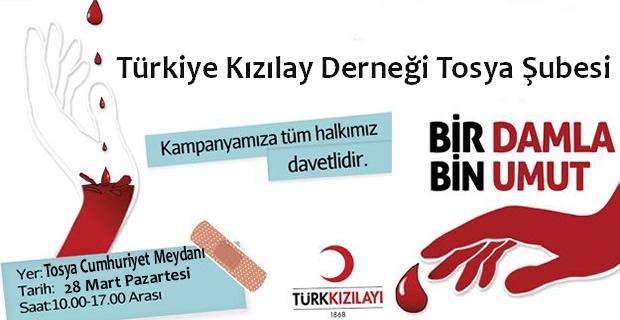 Kızılay 28 Mart'ta Tosya'da Kan Bağışı Düzenleyecek