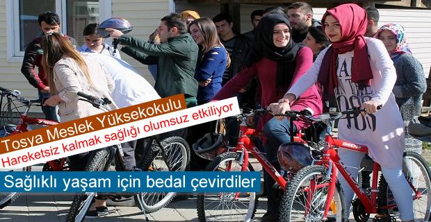 Tosya Meslek Yüksekokulu Öğrencileri Sağlıklı Yaşam İçin Bisiklete bindi