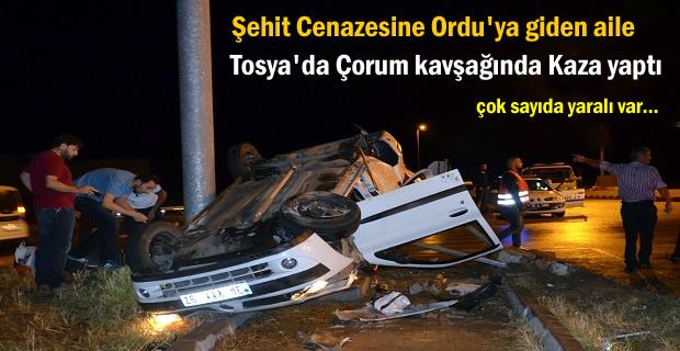 Şehit Cenazesine Giden Aile Tosya'da Trafik Kazası yaptı