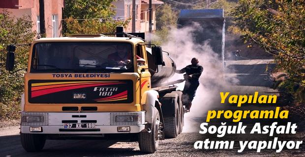 Tosya Belediyesi Soğuk Asfalt Çalışmalarına hız verdi