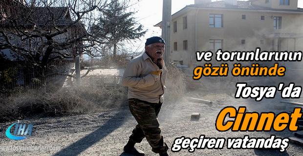 Tosya'da Cinnet geçiren yaşlı adam yolu trafiğe kapattı