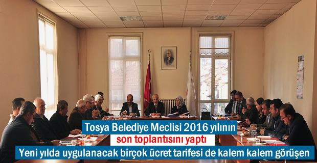 Tosya Belediye Meclisi 2016 yılının son toplantısını yaptı