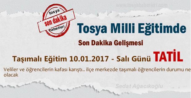Tosya'da 10.01.2017 Salı günü Taşımalı Eğitime 1 gün Eğitime ara verildi
