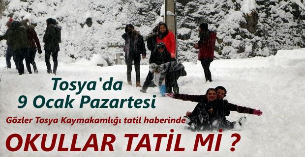 Tosya'da 9 Ocak Pazartesi Okullar Tatil mi ?