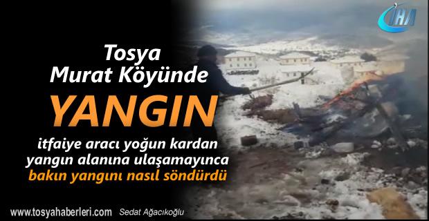 Tosya Murat Köyünde çıkan yangın itfaiyenin ilginç yöntemi ile söndürüldü