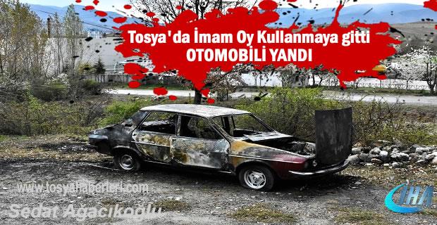 Tosya'da Oy Kullanmaya giden İmamın Otomobili Yandı