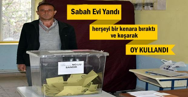 Tosya'da sabah evi yanan vatandaş koşarak oy kullanmaya gitti (GÖRÜNTÜLÜ HABER )