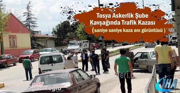 Tosya'da Trafik Kazası Saniye Saniye Güvenlik Kamerası görüntüsü