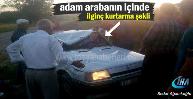 Kastamonu'da direksiyonda uyuyan şoför takla attı;1 Yaralı
