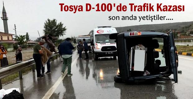 Tosya D-100'de Trafik Kazası; 1 kişi Yaralı