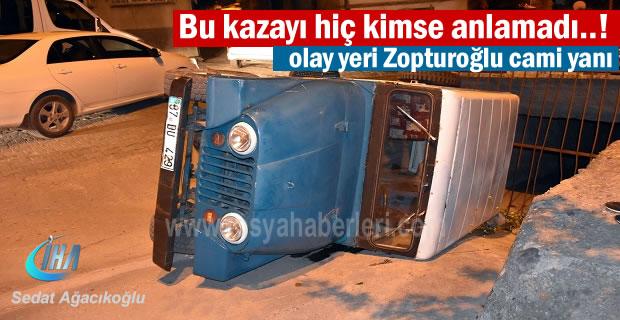 Tosya'da geceyarısı Jeep menfeze girdi