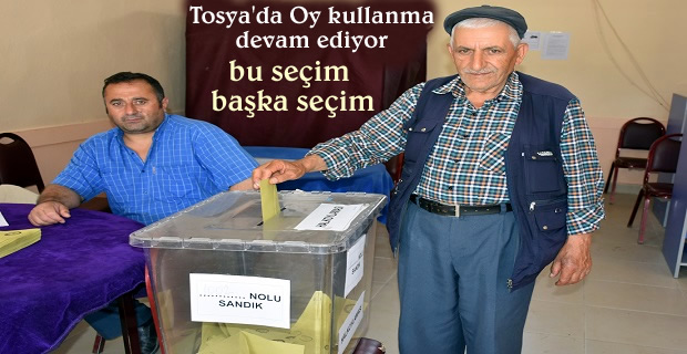 Bu gün Tosya'da yapılan seçimde seçmenler oy kullanmya başladı