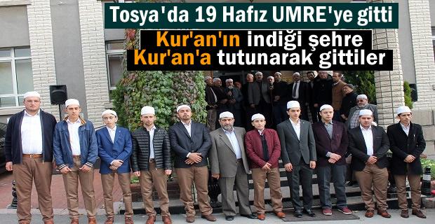 Tosya'da 19 Genç Hafız Hayırseverler tarafından Umre ziyaretine gönderildi