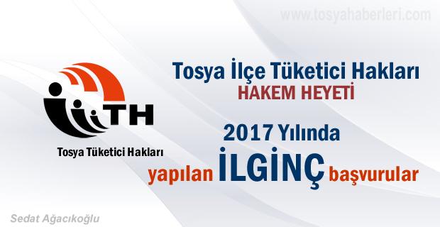 Tosya'da 2017 yılında Tüketici Hakları Başvurusunda dosya sayısı kaç oldu