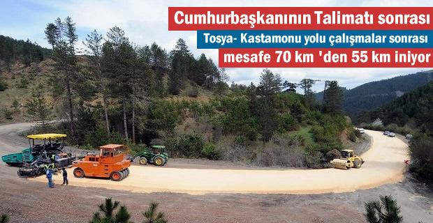 Tosya-Kastamonu yolu mesafesi 55 km'ye düşecek