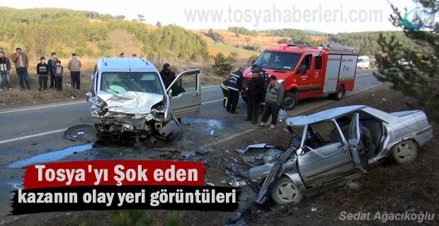 Tosya-Kastamonu yolu Trafik Kazası Olay yeri görüntüleri
