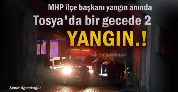 Tosya'da bir gecede 2 yangın olayı meydana geldi
