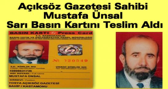 Açıksöz Gazetesi Sahibi Mustafa Ünsal Sarı Basın Kartını Teslim Aldı