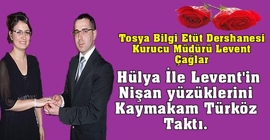 Hülya İle Leventin nişan yüzüklerini Kaymakam Türköz taktı.