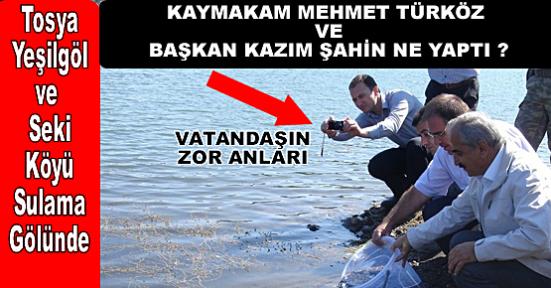 Kaymakam Türköz ve Başkan Şahin Gölette