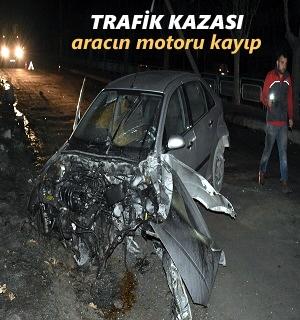 TOSYA'DA GECE YARISI TRAFİK KAZASI ARAÇ İÇİNDE BULUNAN 2 KİŞİ