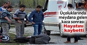 KAZA YAPAN MOTOSİKLET SÜRÜCÜSÜ...