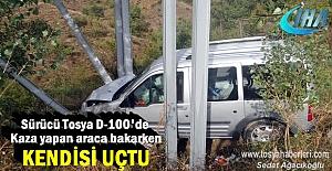 Tosya'da Kazaya bakan Şoför kaza yaptı ölümden döndü