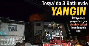 Tosya#039;da 3 katlı Evde Yangın