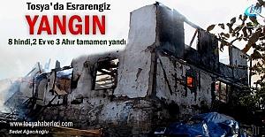 Tosya#039;da Yangında 2 ev ve 3 ahır...