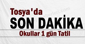 Tosya'da Son Dakika Okullat 1 gün Tatil