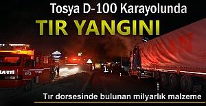Tosya D-100 Karayolunda Tır Yangını