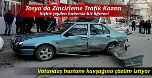 Tosya'da meydana gelen zincirleme Trafik kazasında 1 kişi yaralandı