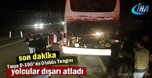 Tosya D-100#039;de Otobüs Yangını