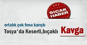 Tosya'da Keserli,bıçaklı kavgada 2 kişi yaralandı