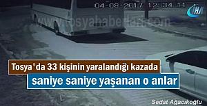 Tosya'da Otobüs kazası güvenlik kamera görüntüsü