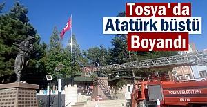 Tosya#039;da Atatürk Büstü Boyandı