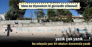 Tosya#039;da okulun duvarındaki edepsiz...