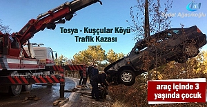 Tosya'da Trafik Kazasında 1'i çocuk 3 kişi yaralandı