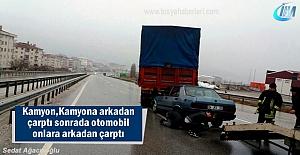 Tosya D-100'de ilginç Trafi Kazası