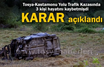 Tosya'da 3 Kişinin Hayatını Kaybettiği Trafik Kazasında Karar Açıklandı