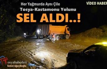 Tosya-Kastamonu Yolunu Sel ve Çamur Aldı..!