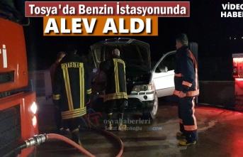 Tosya'da Akaryakıt İstasyonunda Araç Yangını