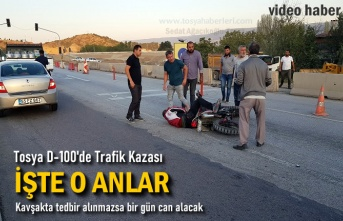 Tosya D-100 de Motosiklet Kazasında 1 kişi Yaralandı