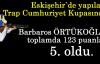 Barbaros ÖRTÜKOĞLU toplamda 123 puanla 5. oldu.