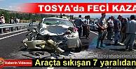 TOSYA'DA TRAFİK FACİASI - İKİ ARAÇ KAFA KAFAYA ÇARPIŞTI