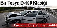 TOSYA#039;DA TRAFİK KAZASINDA OTOMOBİL BENZNLİĞE DALDI