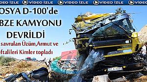 TOSYA'DA SEBZE KAMYONU DEVRİLDİ