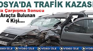 Tosya'da Trafik Kazasında Araçta Bulunan 4 Kişi