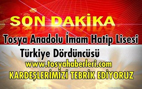Tosya Anadolu İmam Hatip Lisesi Türkiye Dördüncüsü