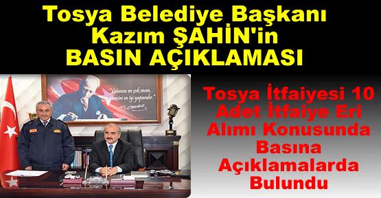 """Tosya Belediye Başkanı Kazım Şahin'in Basın Açıklaması """"Tosya İtfaiyesine 10 Adet İtfaiye Eri Alımı"""""""